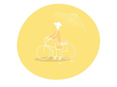 sunset. woman with bike.