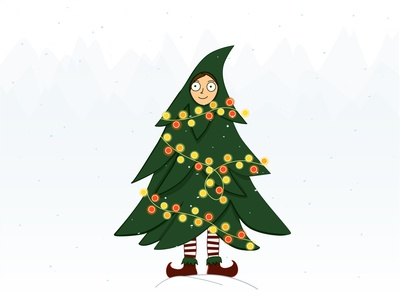 girl in a Christmas tree costume