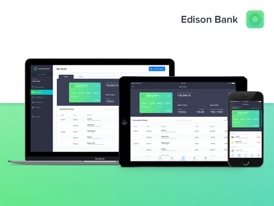Edison Bank - Fully Responsive transfer transactions statements money ipad ios financial finance debit bank balance accounts