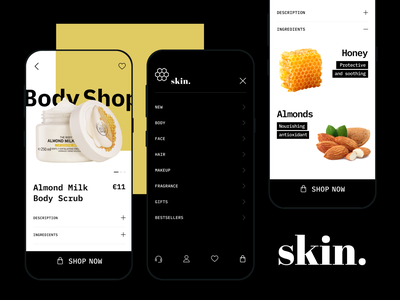 Skin bodycare health organic mobile minimal clean user interface uidesign beauty cosmetology cosmetics ecommerce