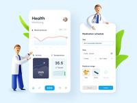 Health monitoring app 3d illustrator design app illustration ui