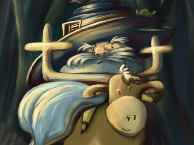 Dwarf wizard of the forest - card game illustration digital painting card game children book illustration childrens illustration wizardry dwarves wizarding world dwarf wizard digital art digital illustration illustration