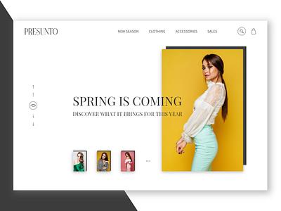 PRESUNTO sales spring yellow ui design ui fashion brand presunto presunto website design women web typography shopping models interface fashion clothy