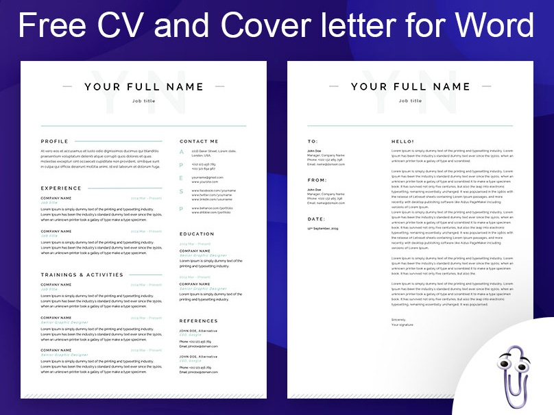 Free CV + Cover Letter for Word by CV Examples on Dribbble