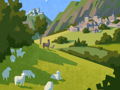 French Countryside countryside france mountain flat travel green animal landscape nature procreate illustration