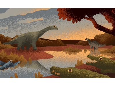 Cretaceous animals from Lo Hueco, Spain illustrator texture sunset water art science conservation ecology ecosystem dinosaur cretaceous autumn nature animals animal illustration