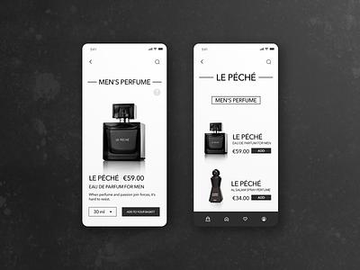 Perfume shop white dark perfume bottle perfumes interface design store minimal mobile shop ux uxui ui app design perfumery