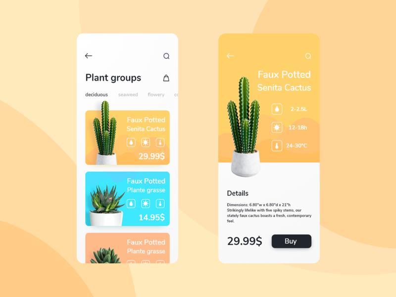 Plants farm cactus planter plant plants mobile ux interface design app uxui ui design