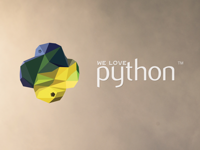 We Love Python python programming logo development cover logo design design polygon brand polygonal geometric creative