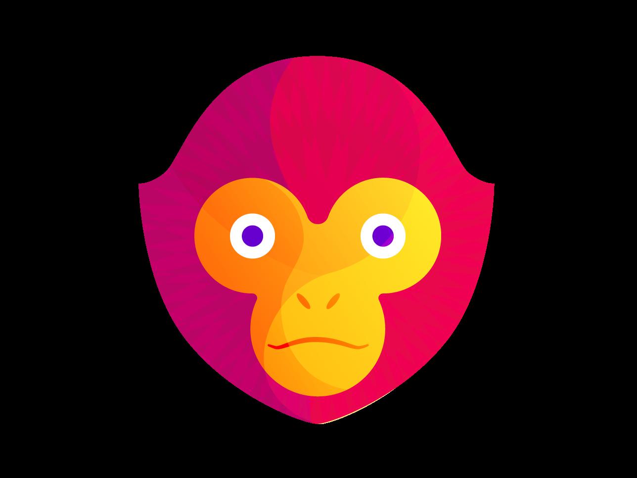 Gibbon Head gibbon ape animal geometric synthetized vector illustration