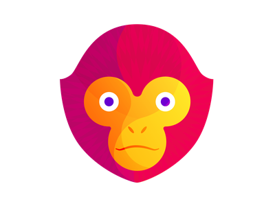 Gibbon Head gibbon ape animal geometric synthetized vector illustration