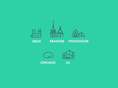 City Icons design vector la chicago stockholm krakow oslo illustration icon