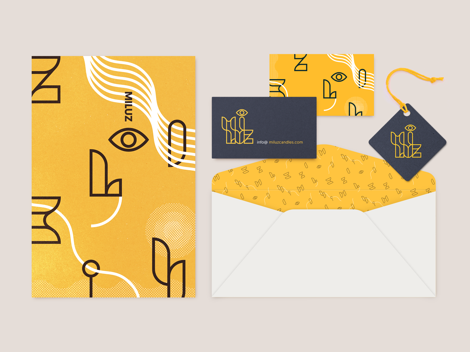 Mi Luz Identity de logomark typography business yellow illustration design branding logo identity