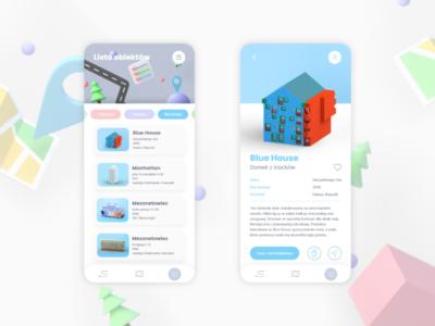 pretty ugly / guide app app architecture product page list ux design ux mobile ui mobile app mobile design ui design composition 3d model illustration 3d art ui