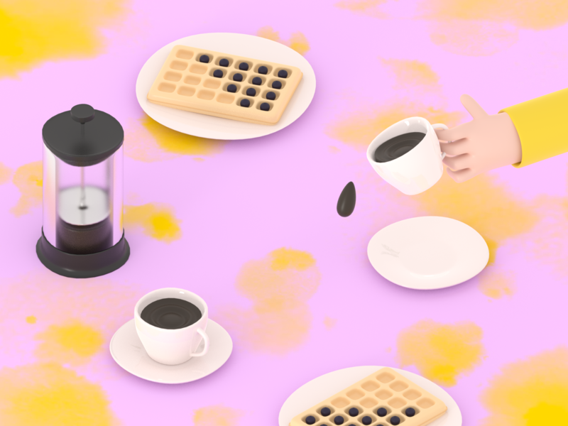 BREAKFAST / illustration eating human blueberries blendercycles blender3d 3d 3d illustration 3d artist waffle waffles coffee breakfast rendering blender 3d model 3dillustration illustration 3d art