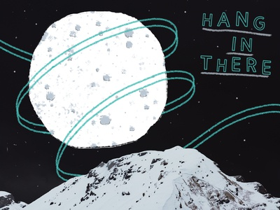 Hang In There digital art wacom digital ribbon illustration typeface moon moonscape digital lettering hand lettered typography type lettering