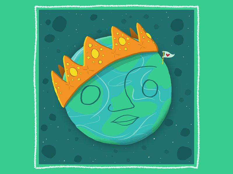 Planet Pride planet planet earth crown love earth day earth digital illustration digital flat illustration illustration