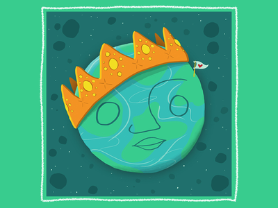 Planet Pride planet planet earth crown love earth day earth digital illustration digital flat illustration illustration