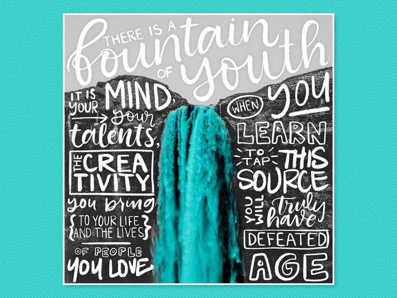 Fountain Of Youth letterer inspiration quote writing type handdrawn waterfall modern calligraphy calligraphy typography handlettering lettering design wacom photoshop digital art digital illustration