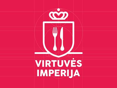 Kitchen Empire Logo Design mark logo design branding kitchen identity icon crown shield food web design clean