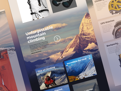 UpNorth Website travel ux design climbing web design website mountain mountaineering upnorth