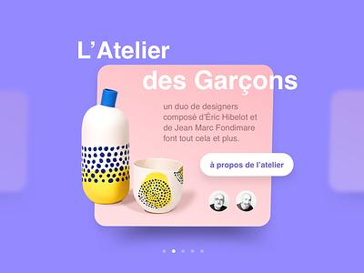 Artists Gallery concept sketch app gallery ui ceramics web site