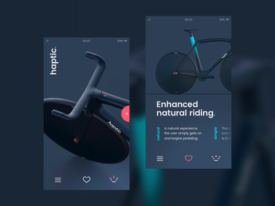 Tribute to a haptic. bike concept inspiration app design bike ux ui app e-bike haptic.