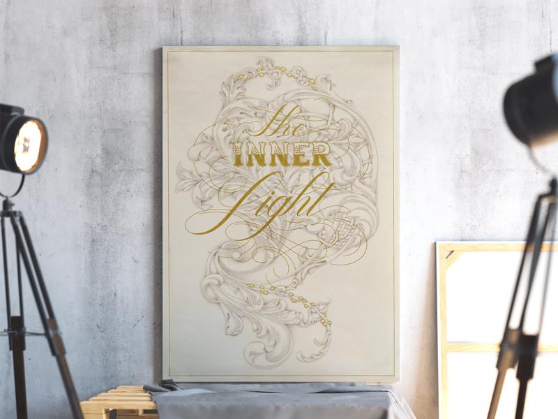 The Inner Light graphic design calligraphy typography design art poster flourish ornament illustration letters lettering