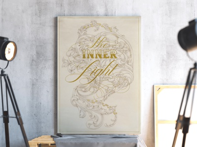 The Inner Light graphic design calligraphy typography design art poster flourish ornament illustration letters lettering