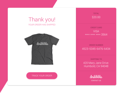 017 Email Receipt emaildesign webdesign shop ecommerce pink dribbble receipt web email uidesign ui dailyui