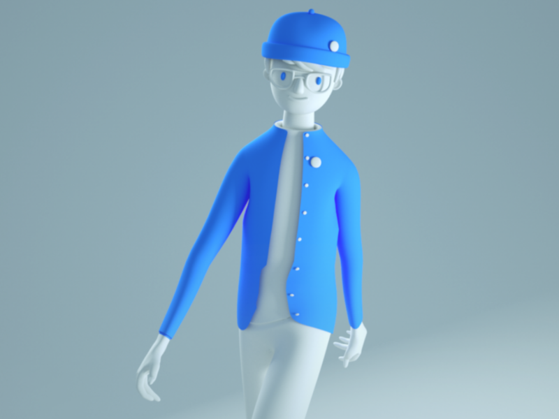 Character 3D walk emoji animation octane characterdesign person character cinema 4d 3d
