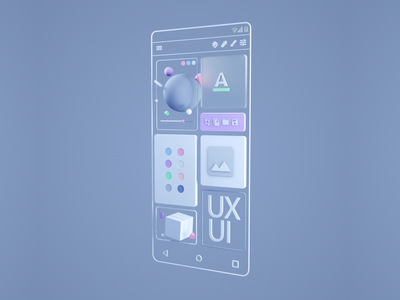 UX / UI 3D visual design web ui ux geometric render adobe octane app cinema 4d 3d