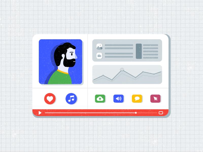 Motion youtube video stats avatar google app flat illustration animation motion