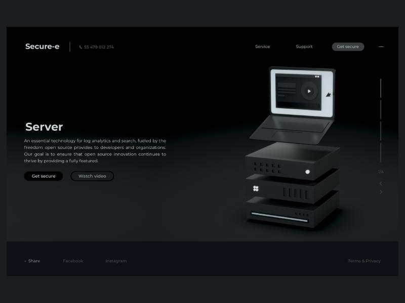 Server | web service web design lading page cinema 4d octane ux ui home page server 3d