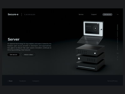 Server | web service web design lading page cinema 4d octane ux ui home page server 3d