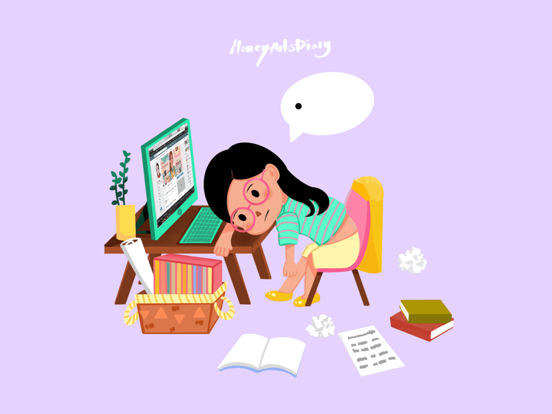 Animated Burnout Syndrome illustration art character pastel cute tired boring gif animation cartoon girl