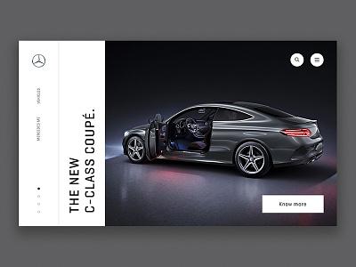 Mercedes Landing clean minimal ui menu navigation typography landing mercedes cars ecommerce
