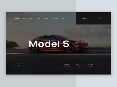Tesla Model S interface product banner ecommerce car landing clean ui minimal