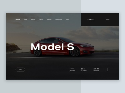 Tesla Model S interface product banner ecommerce car landing clean ui minimal