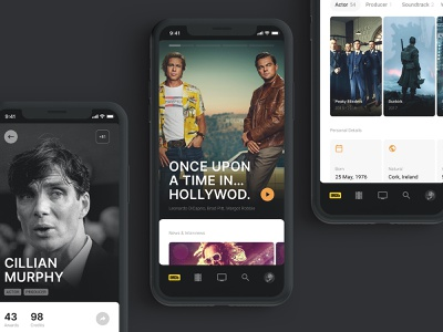 IMDB concept simple tv show mobile carousel app movies landing navigation clean ui minimal