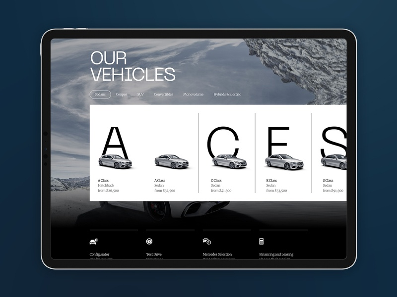 Mercedes Vehicles product ux car cars interface carousel navigation landing desktop clean ui minimal