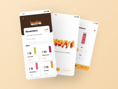 Food app - Takeaway Concept ui screens ux minimal design app animation uiux ui design product design