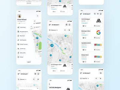 Internship Finder App Concept ui screens ux minimal design app animation uiux ui design product design