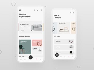 E-Commerce Home decor Application shot screens design ux app uiux ui ui design minimal product design animation