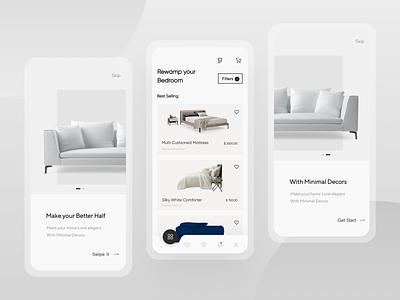 E-Commerce Home decor Application branding minimal screens uiux ux design app ui ui design product design animation