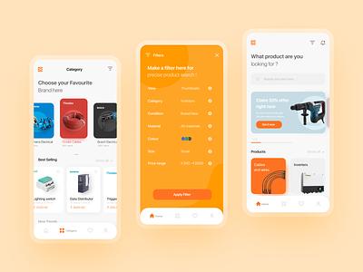 Electrical Dealership app Concept - #2 mockups website color app design app shots branding screens design ux ui ui design uiux product design animation