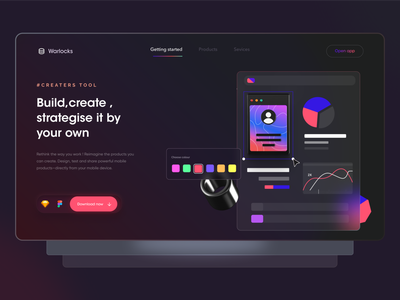 UI Creator tool - Landing page inspiration colors screens landing page website logo interaction minimal design ux uiux app ui ui design product design