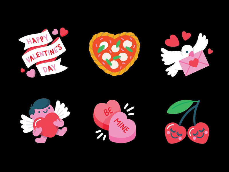 Messenger: Valentine's Day Camera Stickers facebook banner envelope bird cute pink red hearts love cherries pizza margherita cupid valentines day