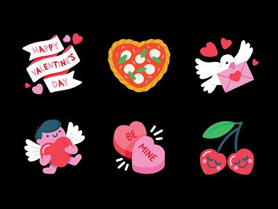 Messenger: Valentine's Day Camera Stickers facebook banner envelope bird cute pink red hearts love cherries pizza margherita cupid valentines day