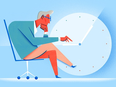 4 Hour Workday email sucks golden hours time clock workplace productivity aesthetic illustration editorial